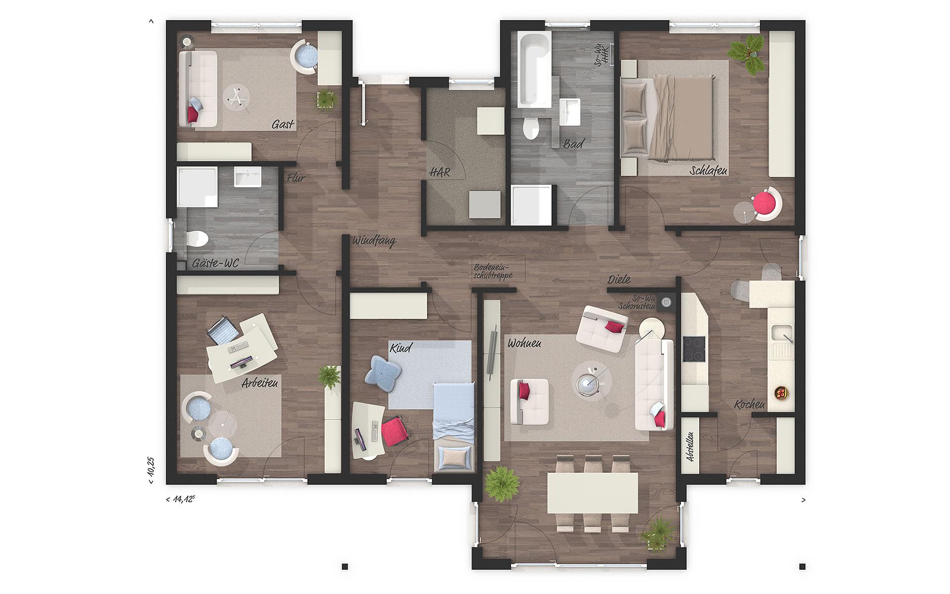 Erdgeschoss Bungalow 128 von Town & Country Haus Lizenzgeber GmbH