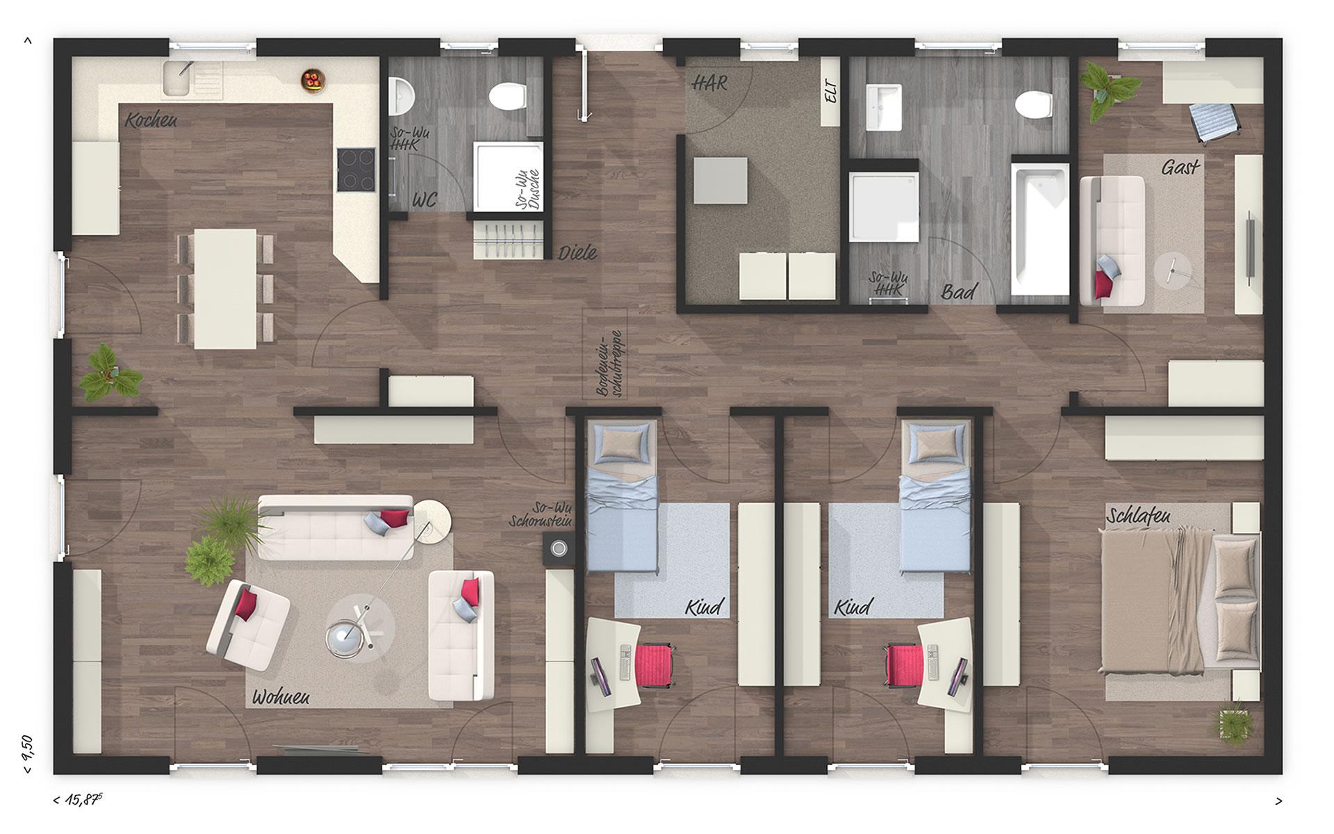 Erdgeschoss Bungalow 131 von Town & Country Haus Lizenzgeber GmbH