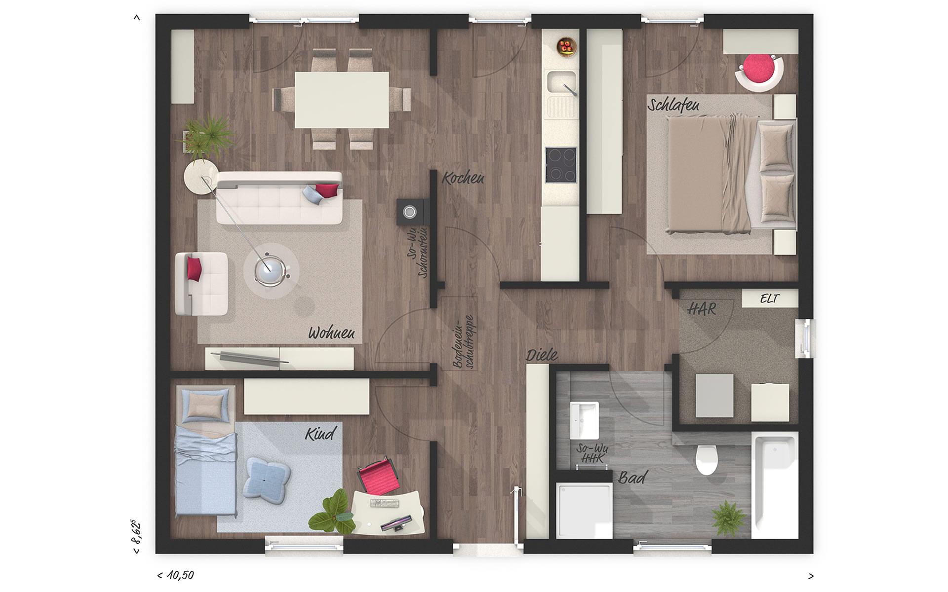 Erdgeschoss Bungalow 78 von Town & Country Haus Lizenzgeber GmbH