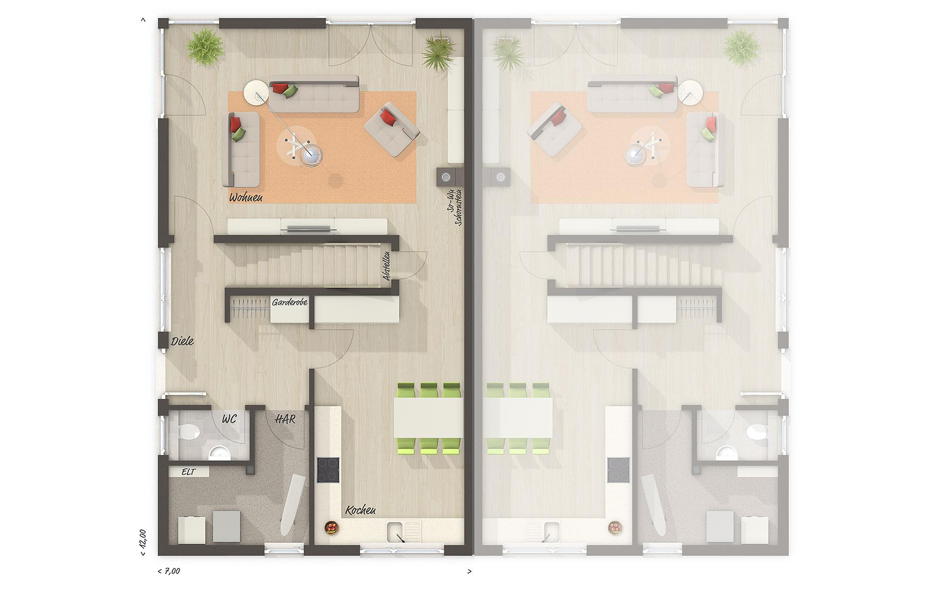 Erdgeschoss Doppelhaus Aura 136 von Town & Country Haus Lizenzgeber GmbH