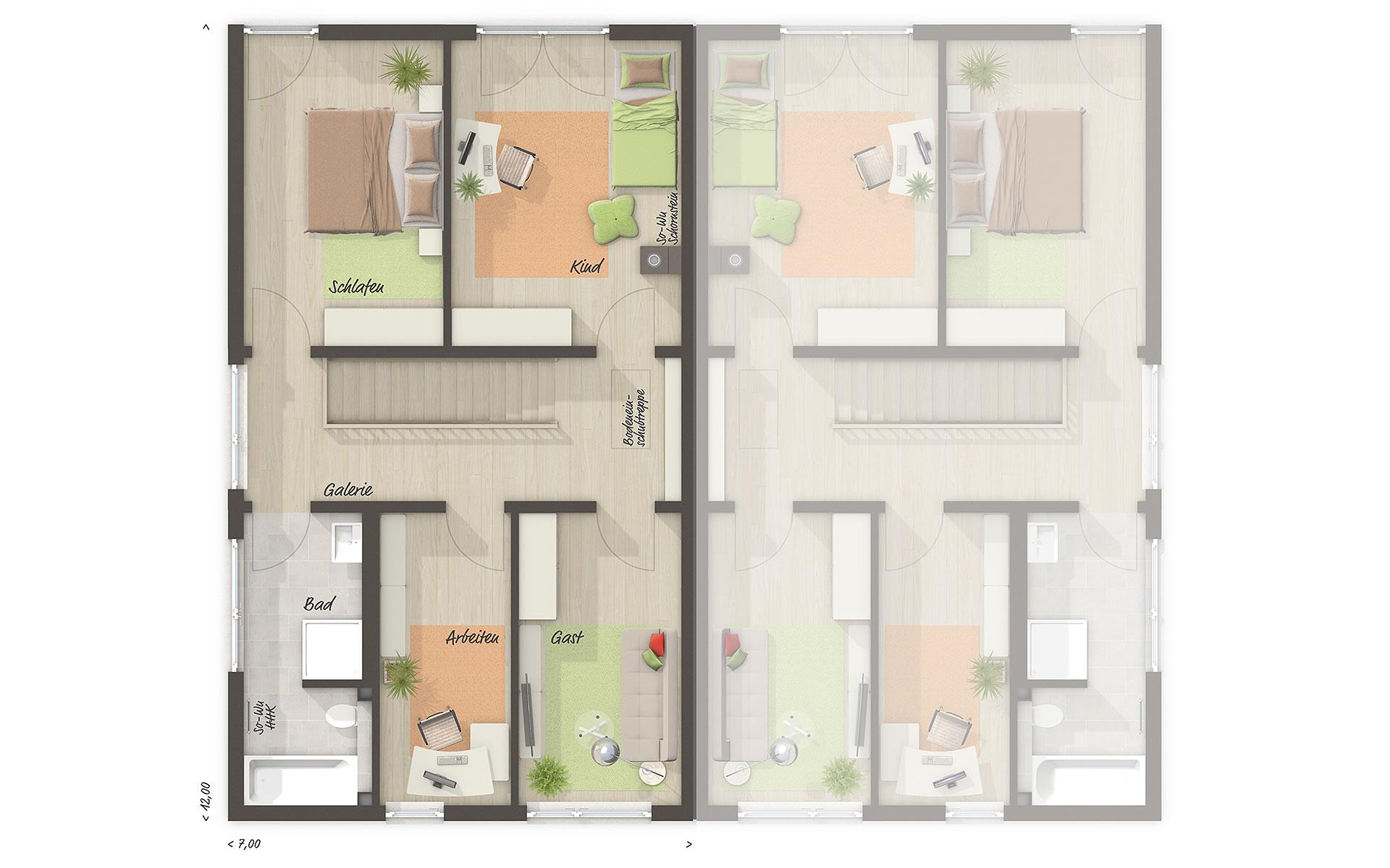 Obergeschoss Doppelhaus Aura 136 von Town & Country Haus Lizenzgeber GmbH