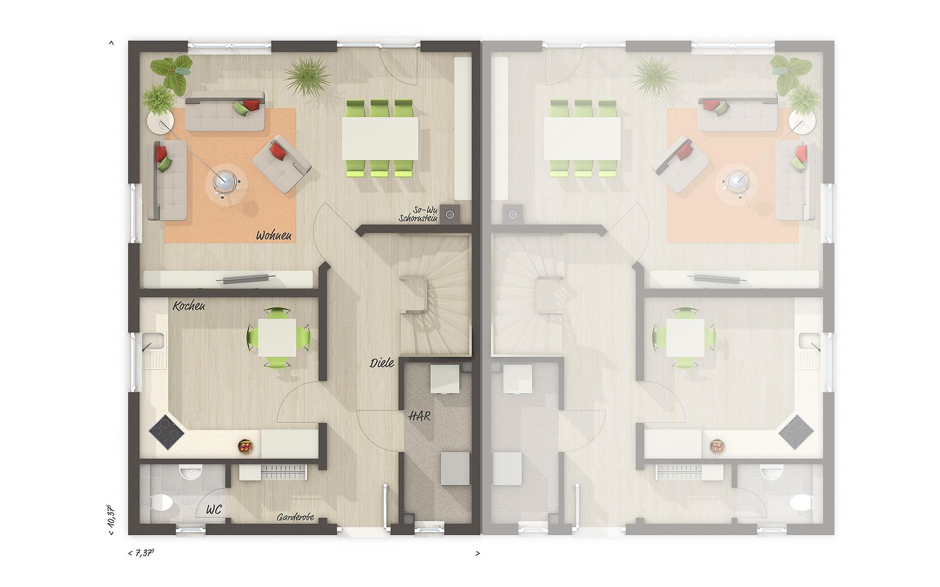 Erdgeschoss Doppelhaus Behringen 116 von Town & Country Haus Lizenzgeber GmbH