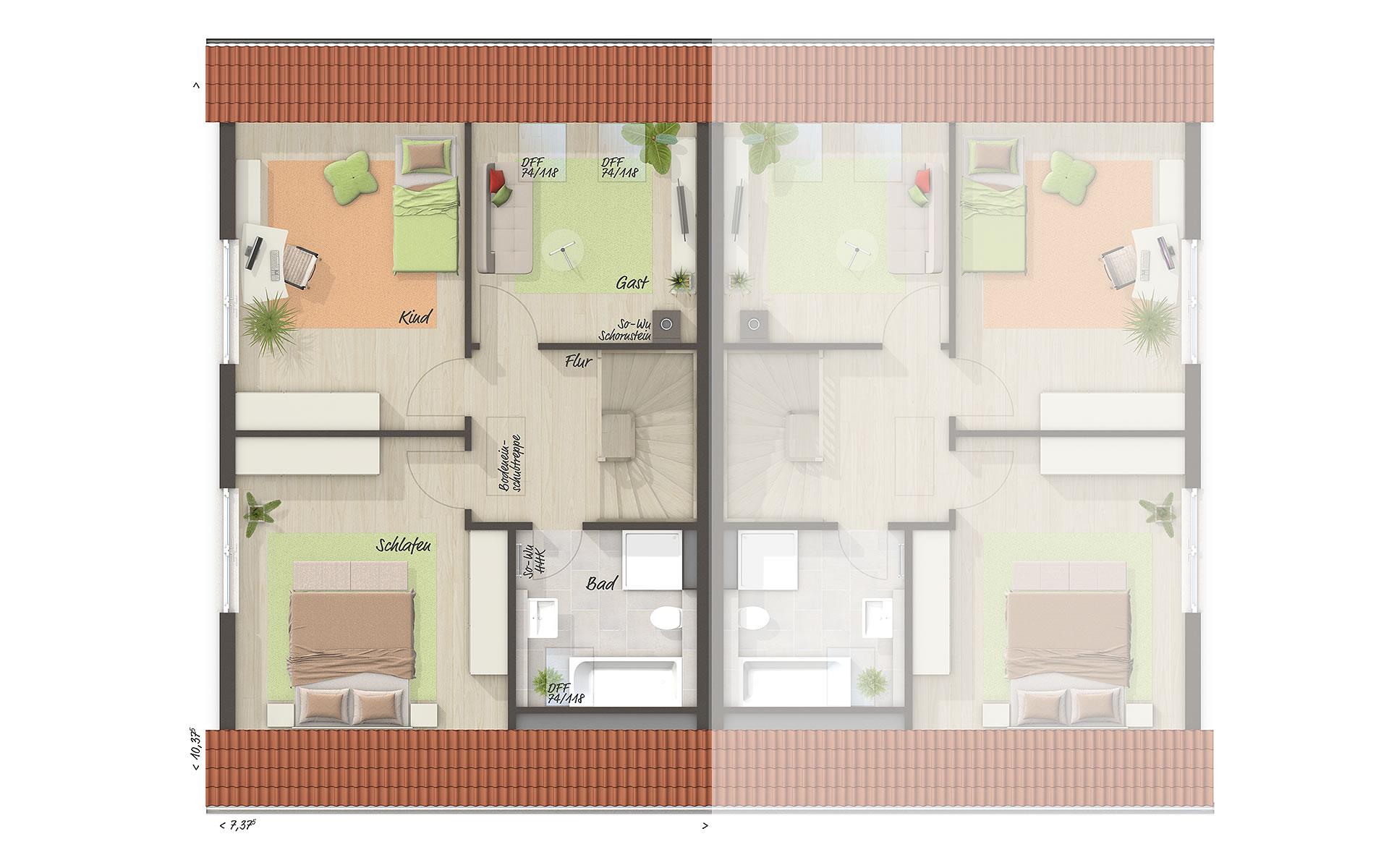 Obergeschoss Doppelhaus Behringen 116 von Town & Country Haus Lizenzgeber GmbH