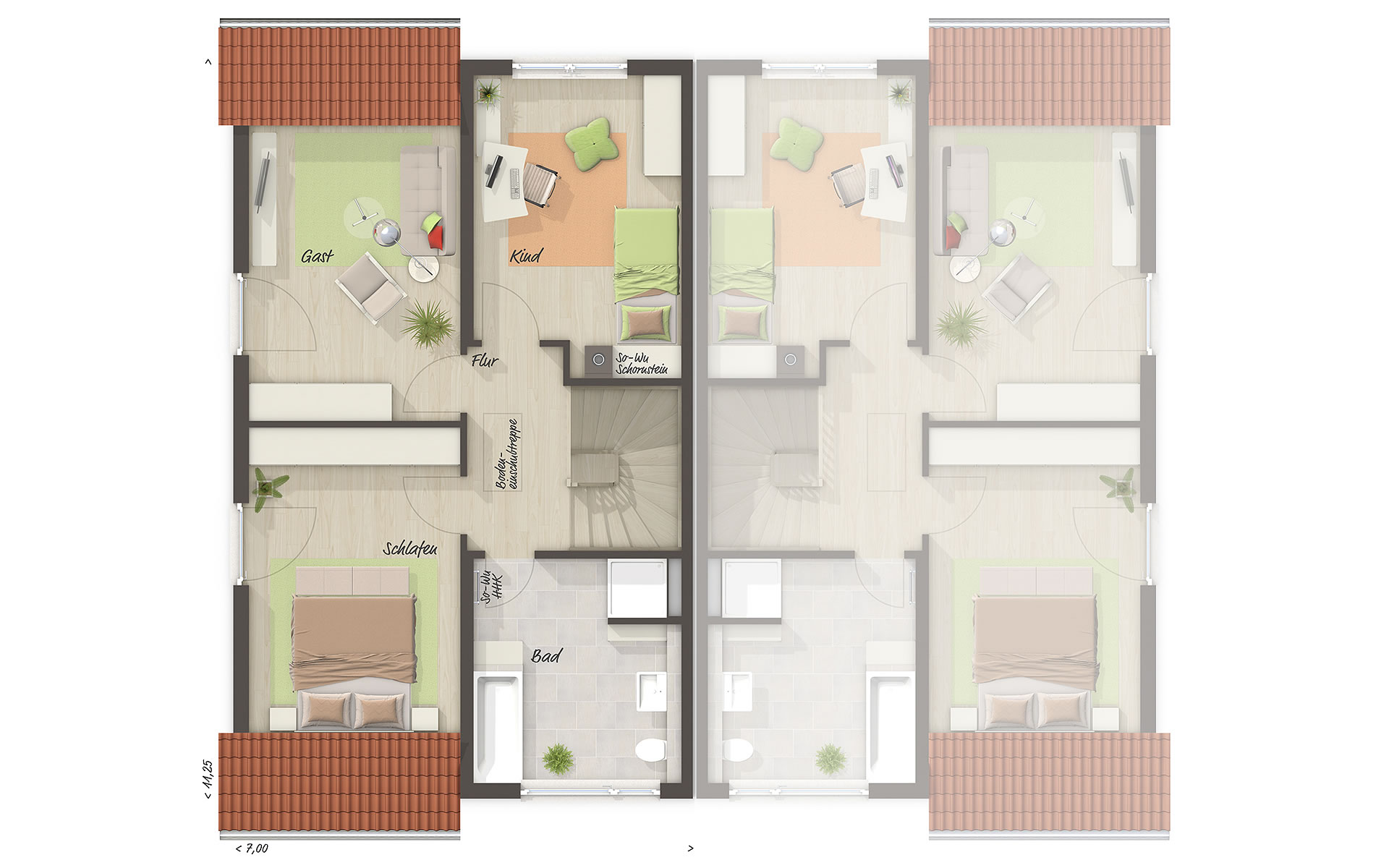 Dachgeschoss Doppelhaus Duett 125 von Town & Country Haus Lizenzgeber GmbH