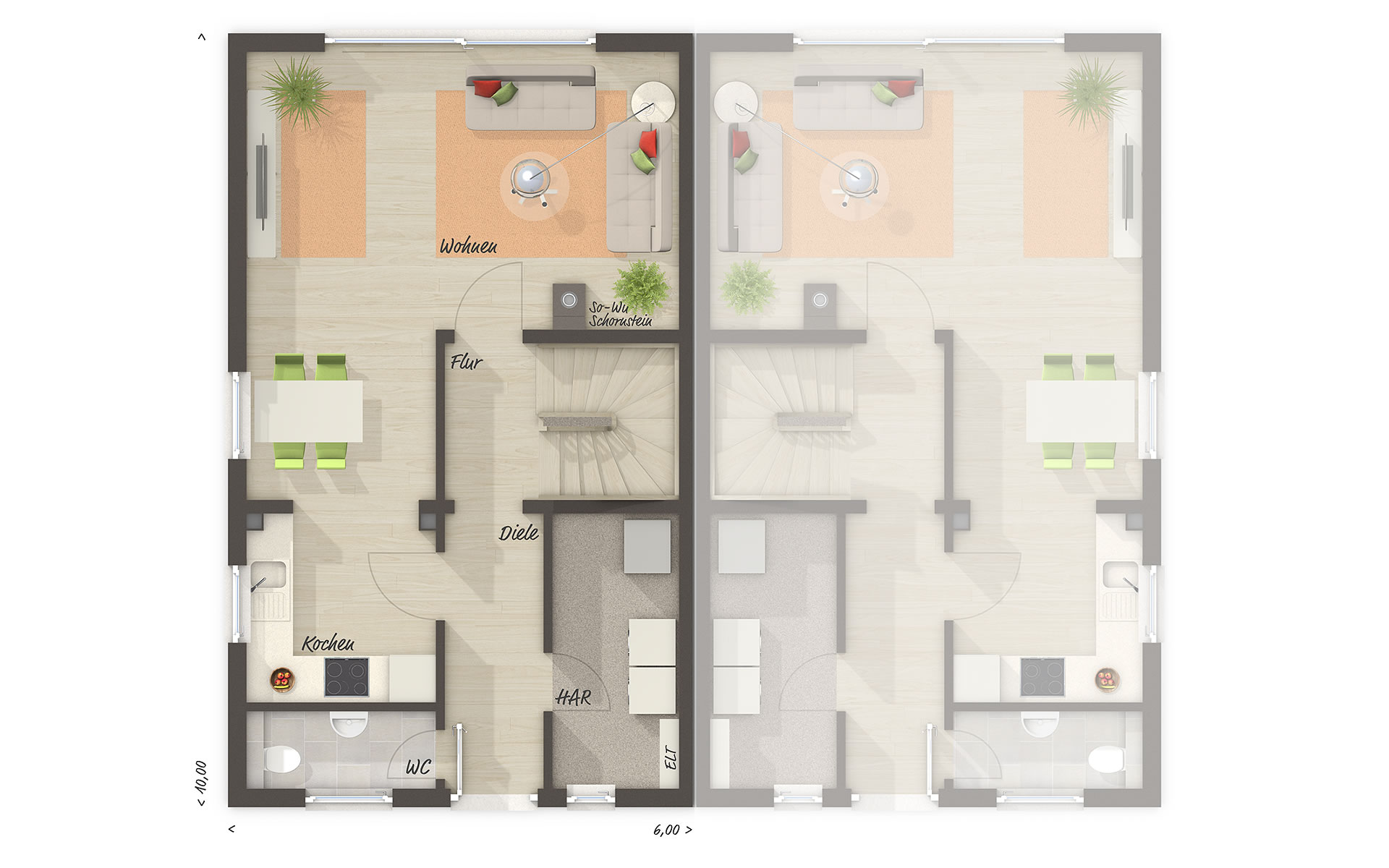 Erdgeschoss Doppelhaus Mainz 128 - modern von Town & Country Haus Lizenzgeber GmbH