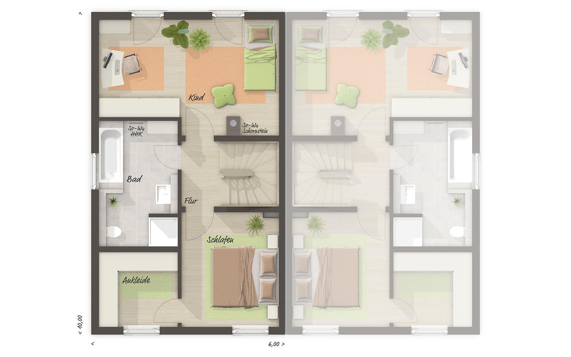 Obergeschoss Doppelhaus Mainz 128 - modern von Town & Country Haus Lizenzgeber GmbH