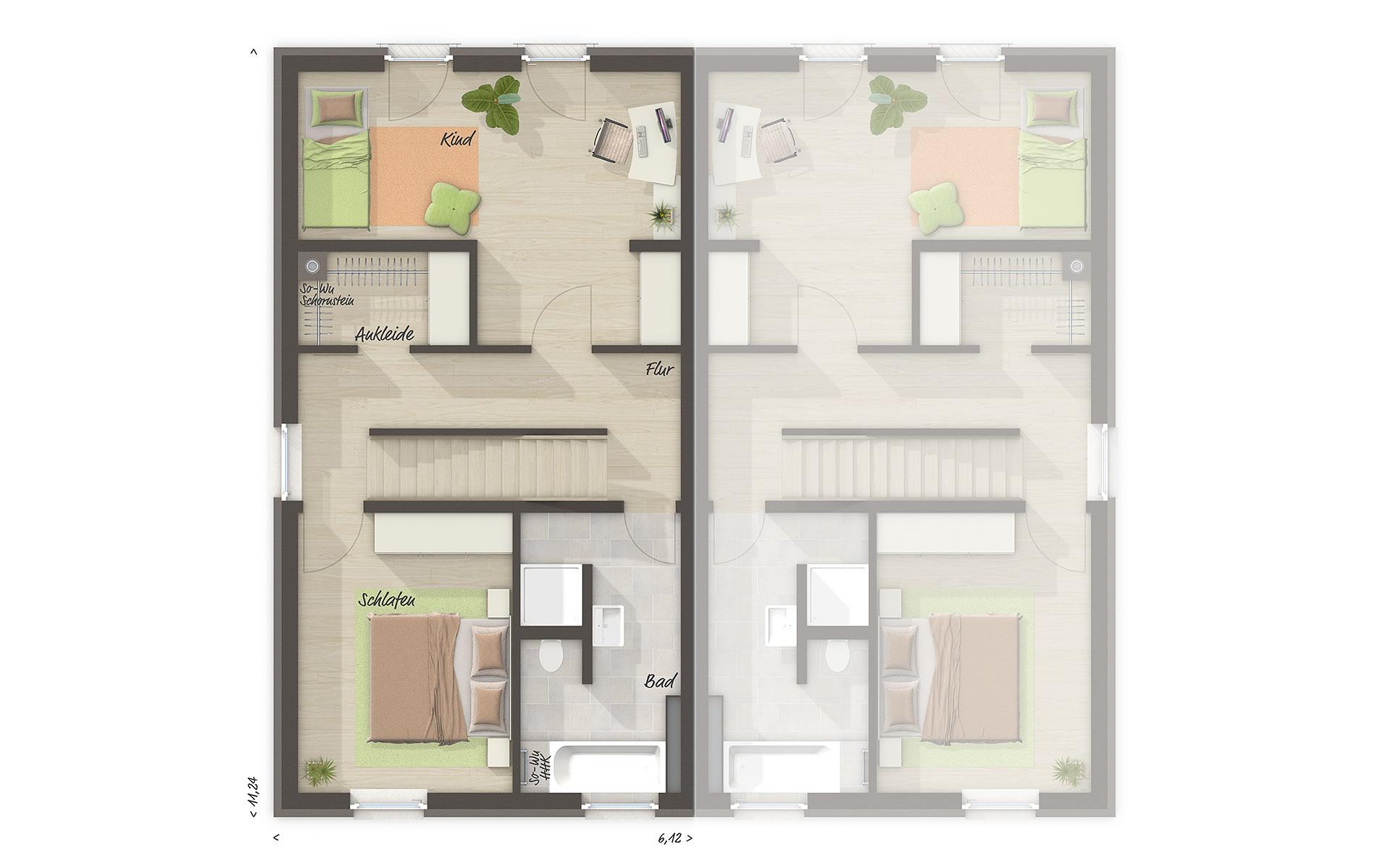 Obergeschoss Doppelhaus Mainz 128 - modern DT von Town & Country Haus Lizenzgeber GmbH