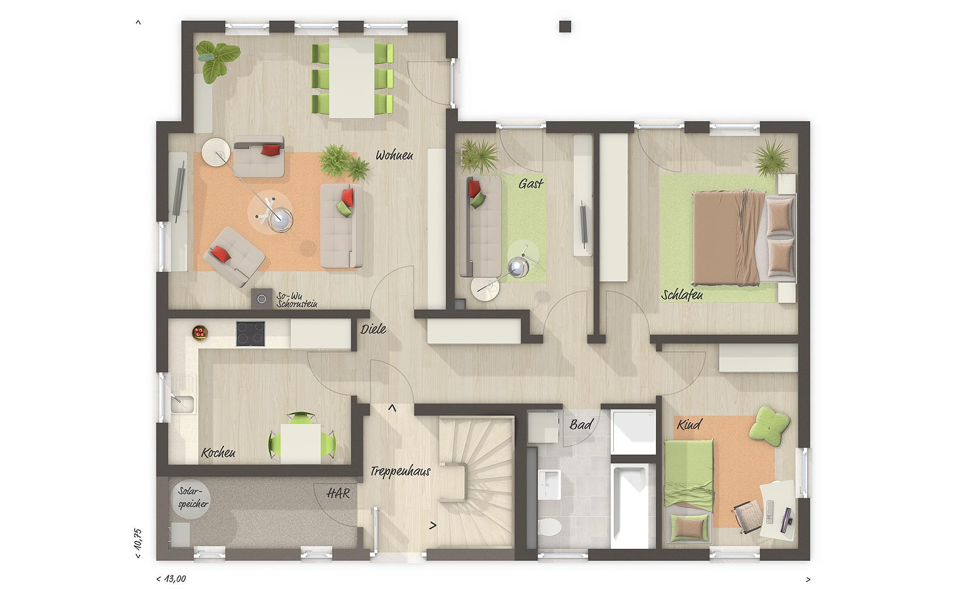 Erdgeschoss Domizil 192 von Town & Country Haus Lizenzgeber GmbH