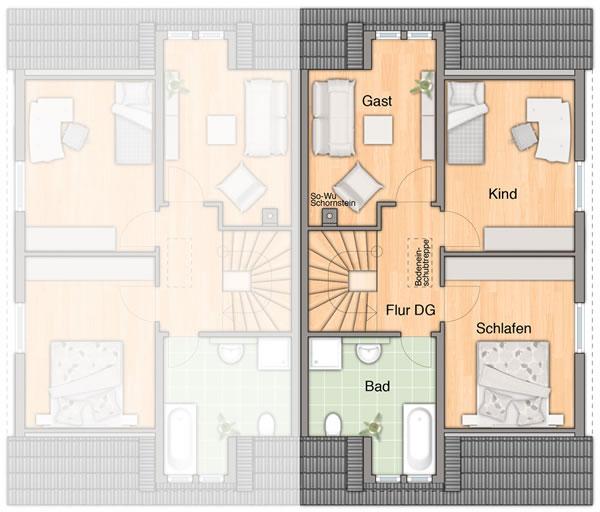 Dachgeschoss Duett  115 von Town & Country Haus Lizenzgeber GmbH