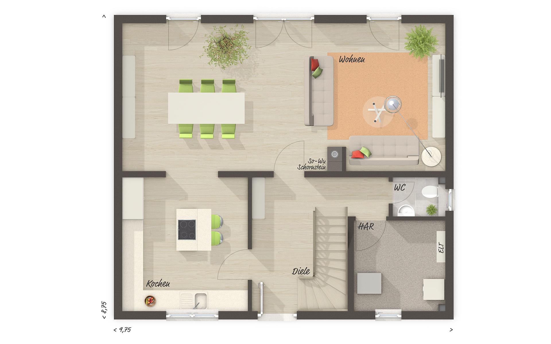 Erdgeschoss Edition Clever 138+ von Town & Country Haus Lizenzgeber GmbH