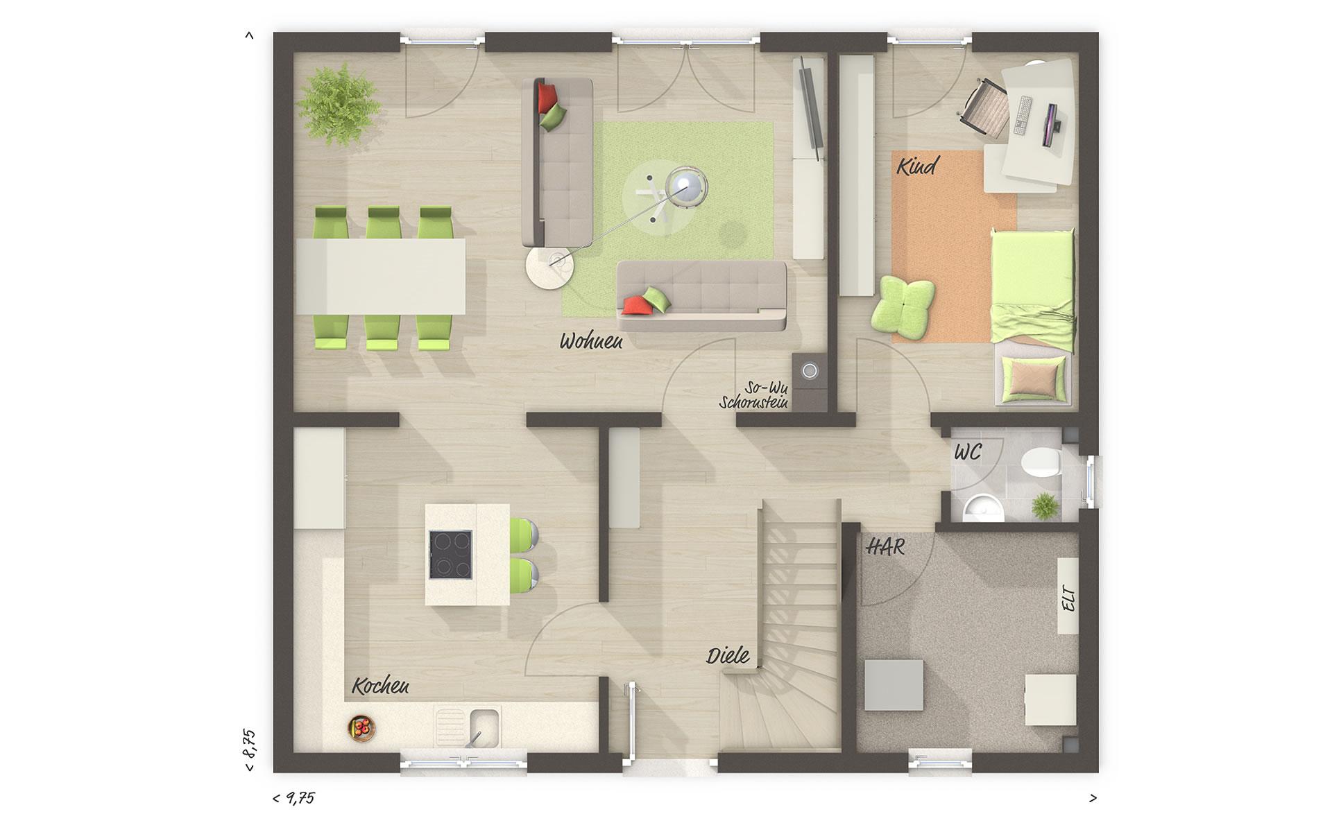 Obergeschoss Edition Clever 138+ von Town & Country Haus Lizenzgeber GmbH