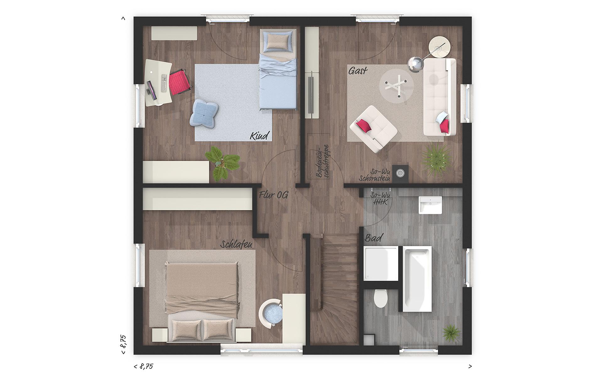 Obergeschoss Stadthaus Flair 124 von Town & Country Haus Lizenzgeber GmbH