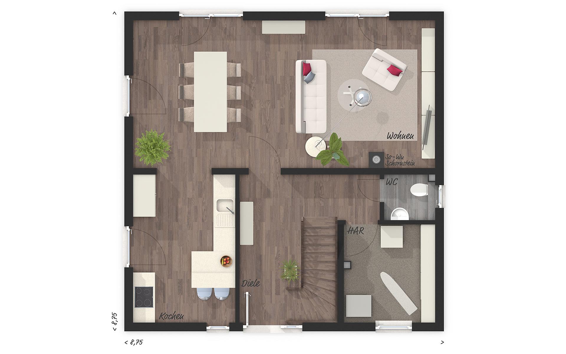 Erdgeschoss Stadthaus Flair 124 von Town & Country Haus Lizenzgeber GmbH