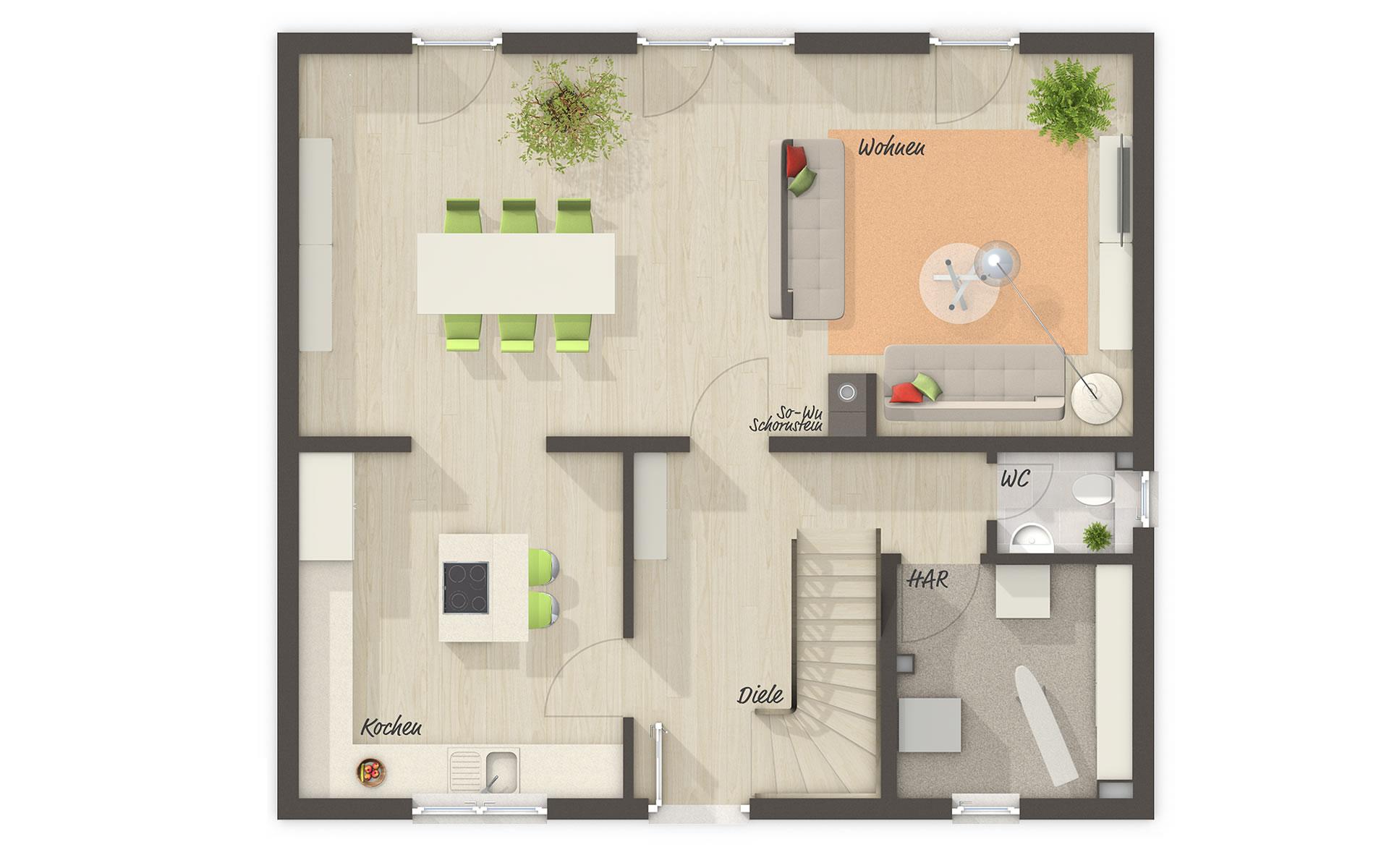 Erdgeschoss Flair 125 von Town & Country Haus Lizenzgeber GmbH