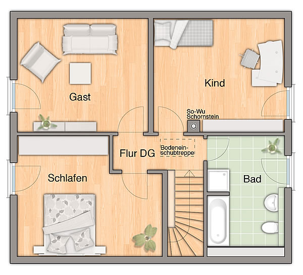 Dachgeschoss Flair 125 Süddeutschland von Town & Country Haus Lizenzgeber GmbH