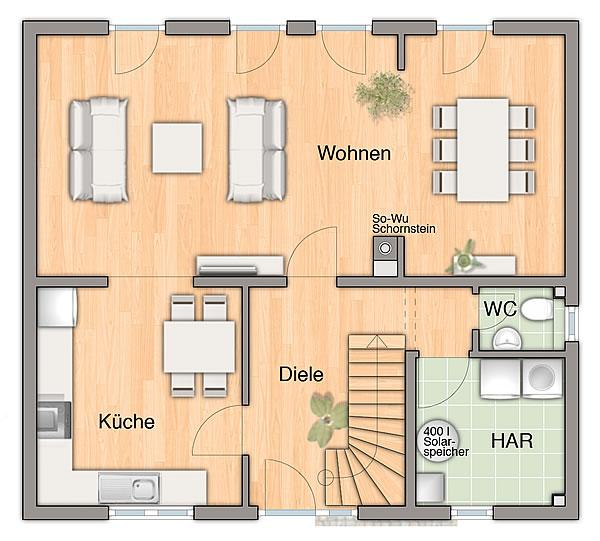 Erdgeschoss Flair 125 Süddeutschland von Town & Country Haus Lizenzgeber GmbH