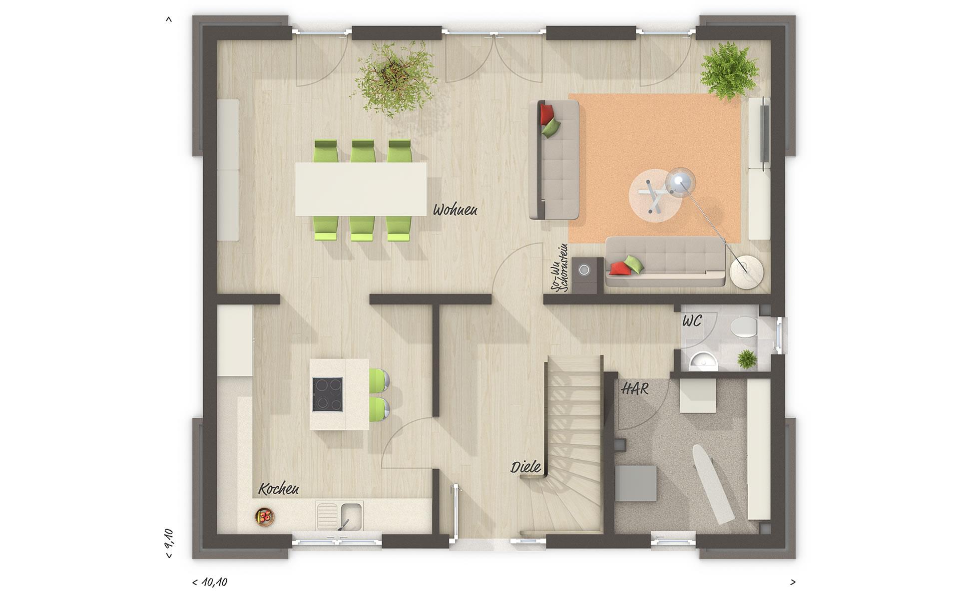 Erdgeschoss Flair 130 von Town & Country Haus Lizenzgeber GmbH