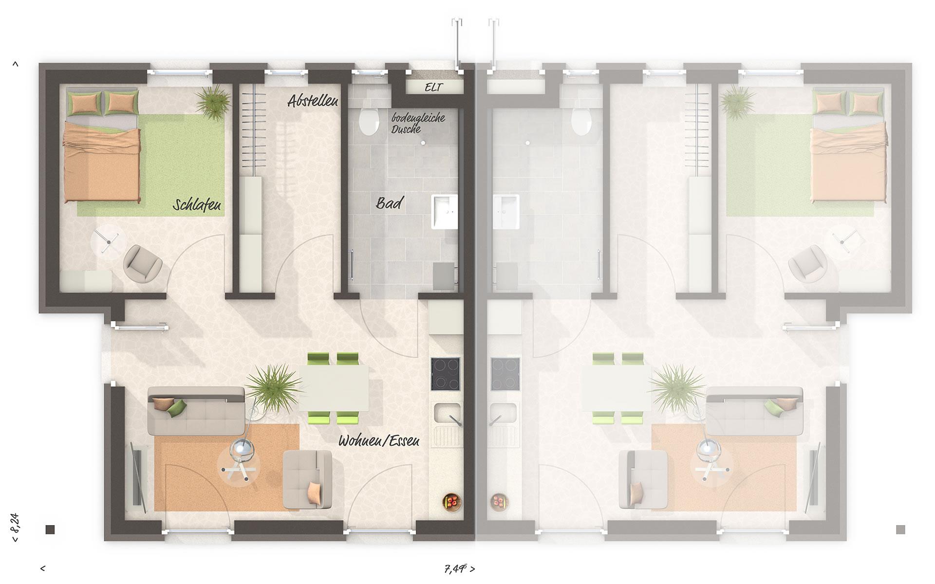 Erdgeschoss Glückswelthaus DUO von Town & Country Haus Lizenzgeber GmbH