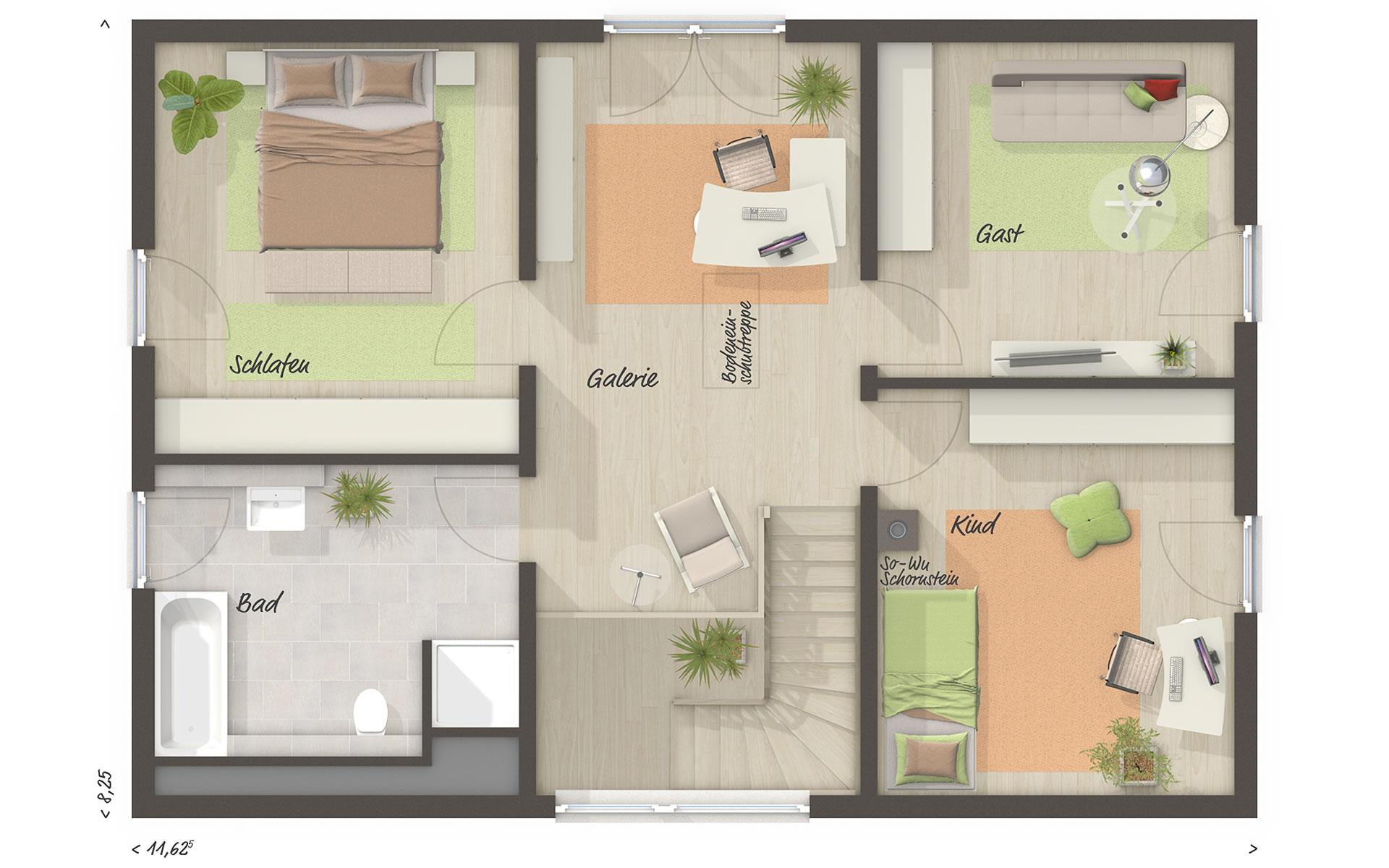 Obergeschoss Landhaus 142 - modern von Town & Country Haus Lizenzgeber GmbH