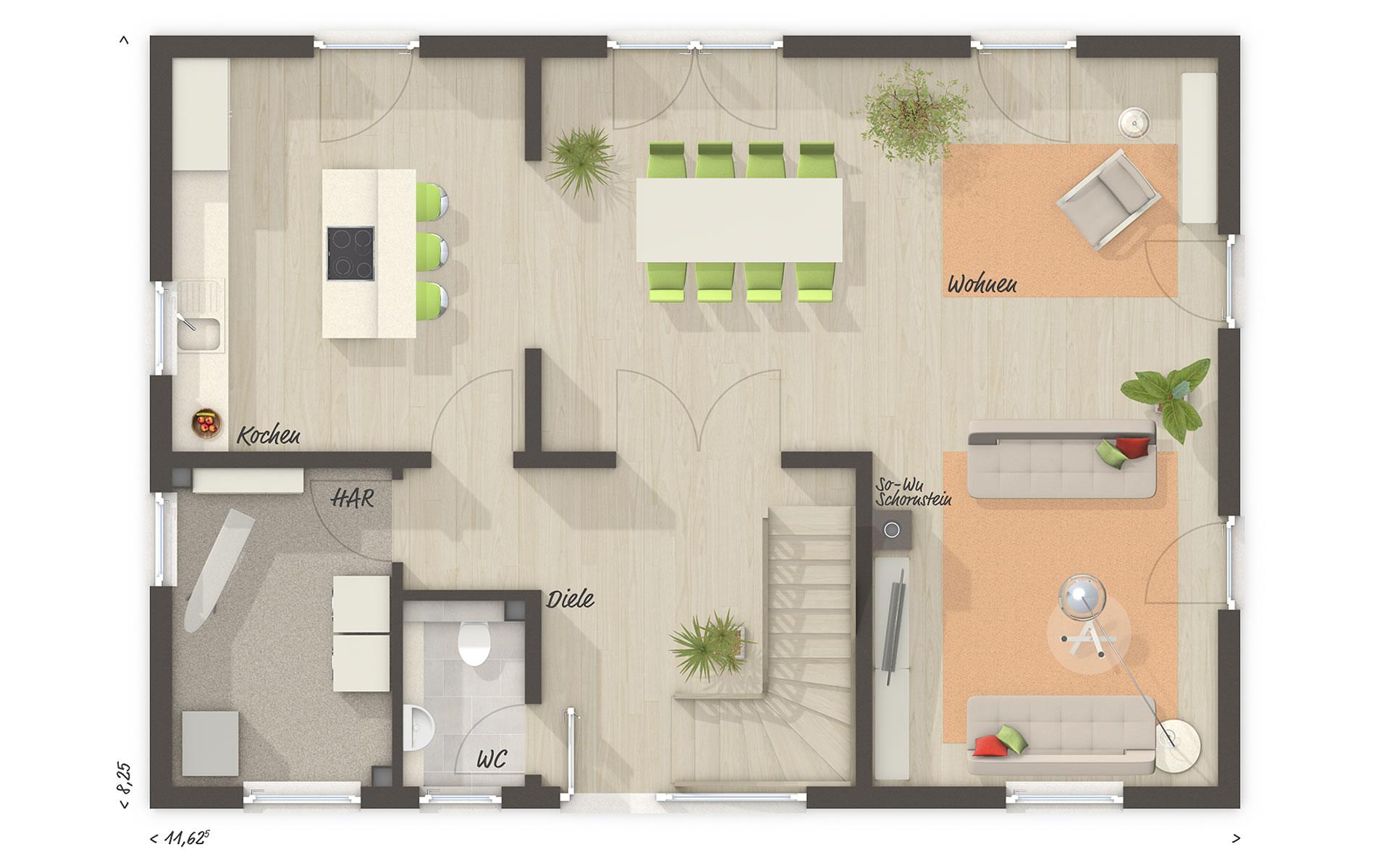 Erdgeschoss Landhaus 142 - modern von Town & Country Haus Lizenzgeber GmbH