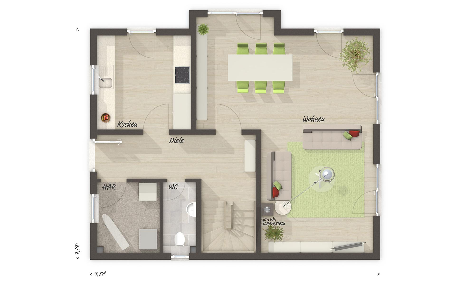 Erdgeschoss Lichthaus 121 von Town & Country Haus Lizenzgeber GmbH