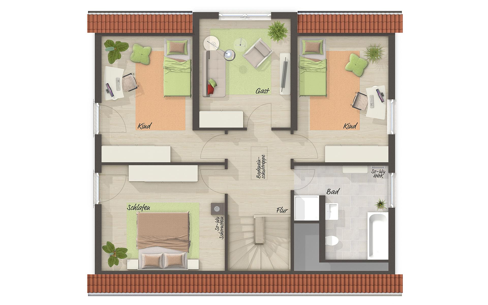 Dachgeschoss Lichthaus 152 von Town & Country Haus Lizenzgeber GmbH