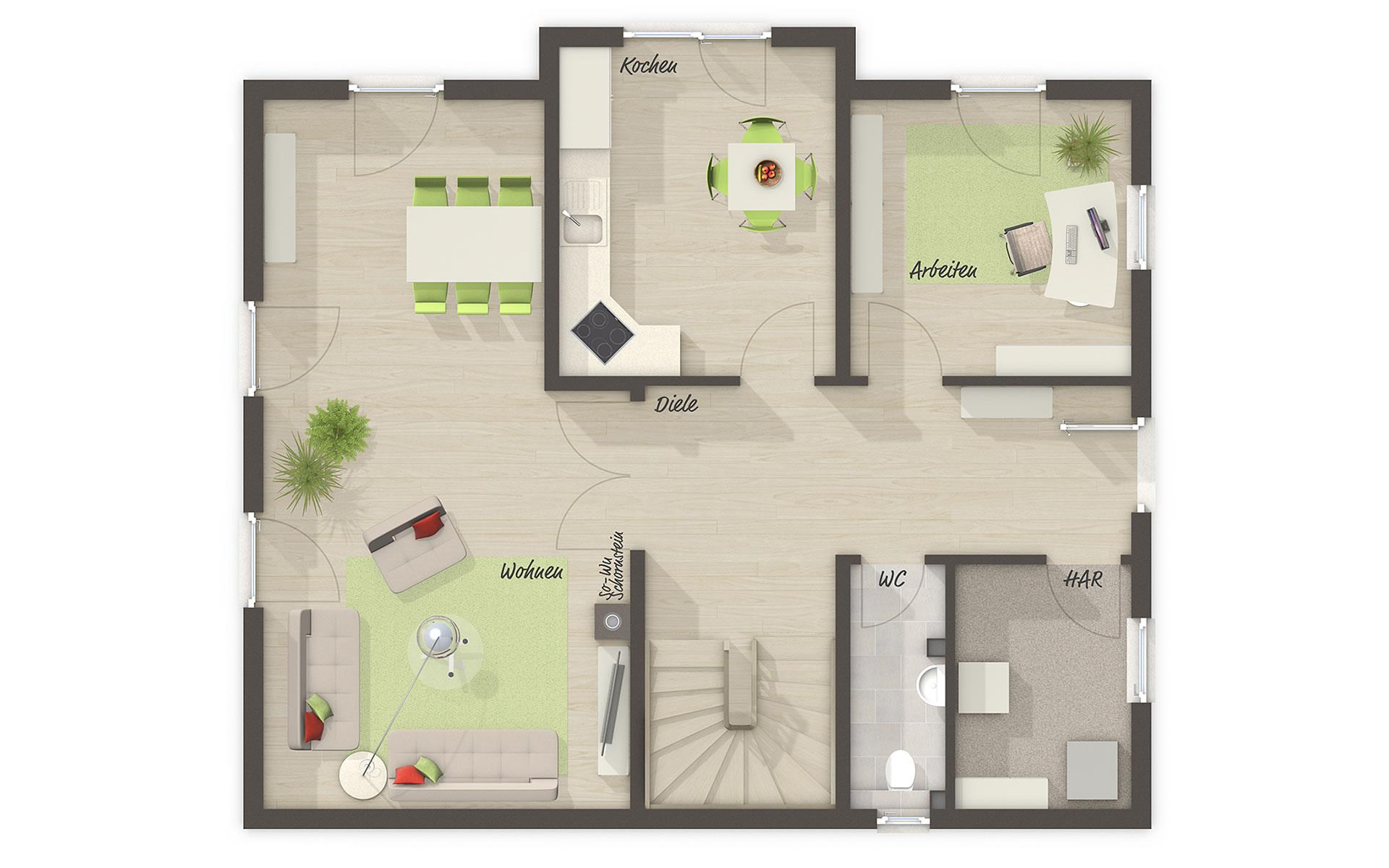 Erdgeschoss Lichthaus 152 von Town & Country Haus Lizenzgeber GmbH