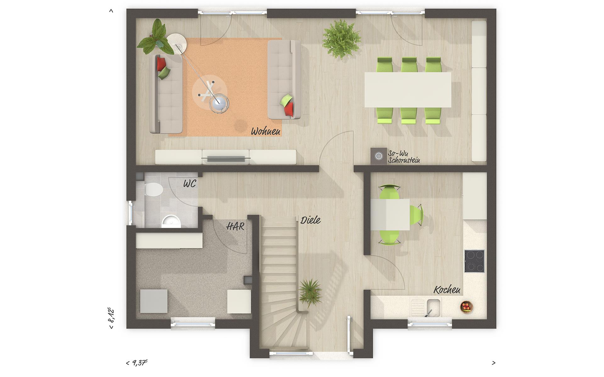 Erdgeschoss Lifestyle 120 von Town & Country Haus Lizenzgeber GmbH