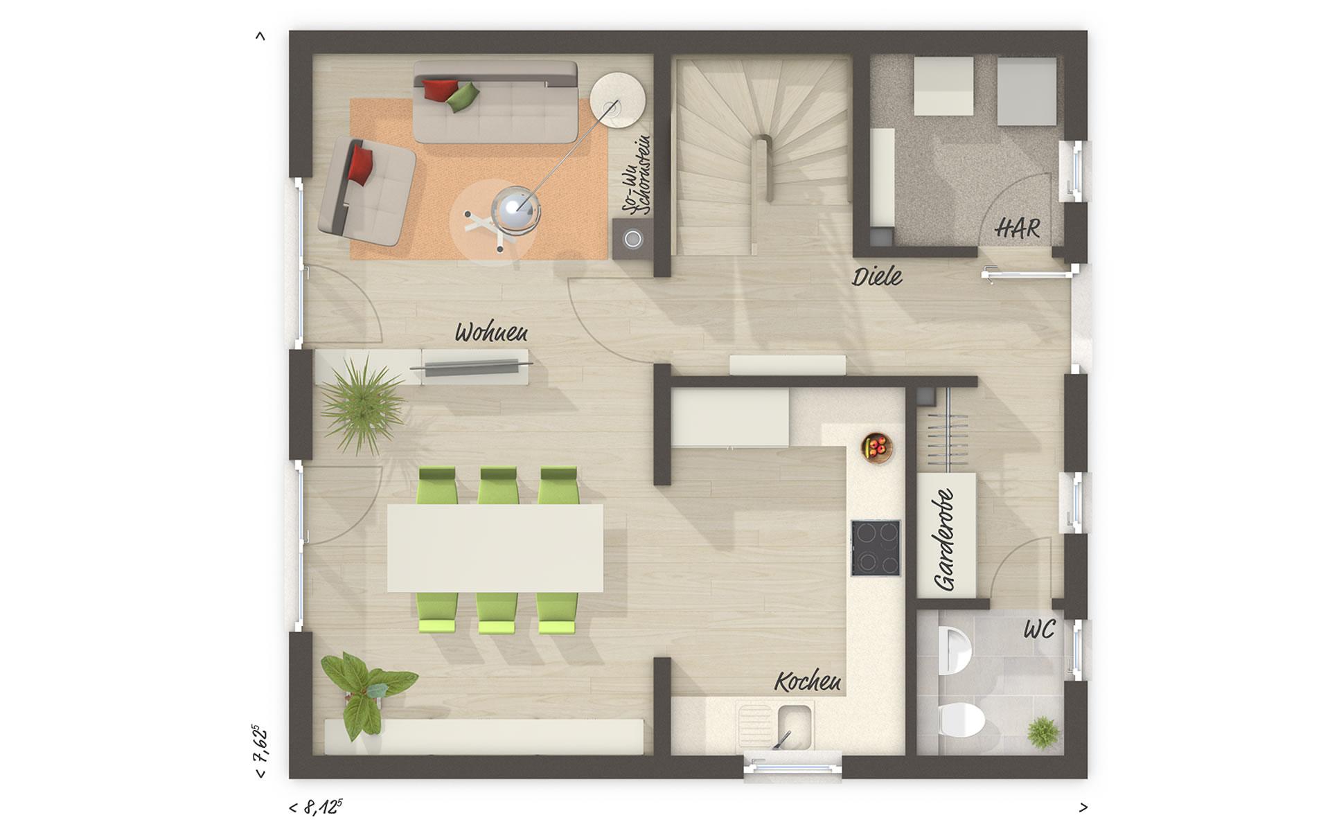 Erdgeschoss Raumwunder 90 von Town & Country Haus Lizenzgeber GmbH
