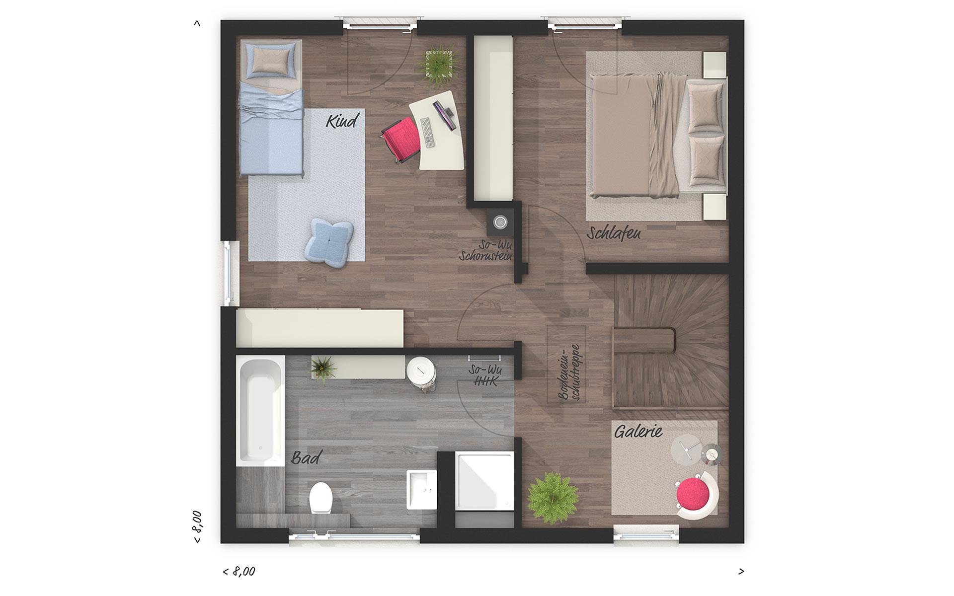 Obergeschoss Stadthaus 100 von Town & Country Haus Lizenzgeber GmbH