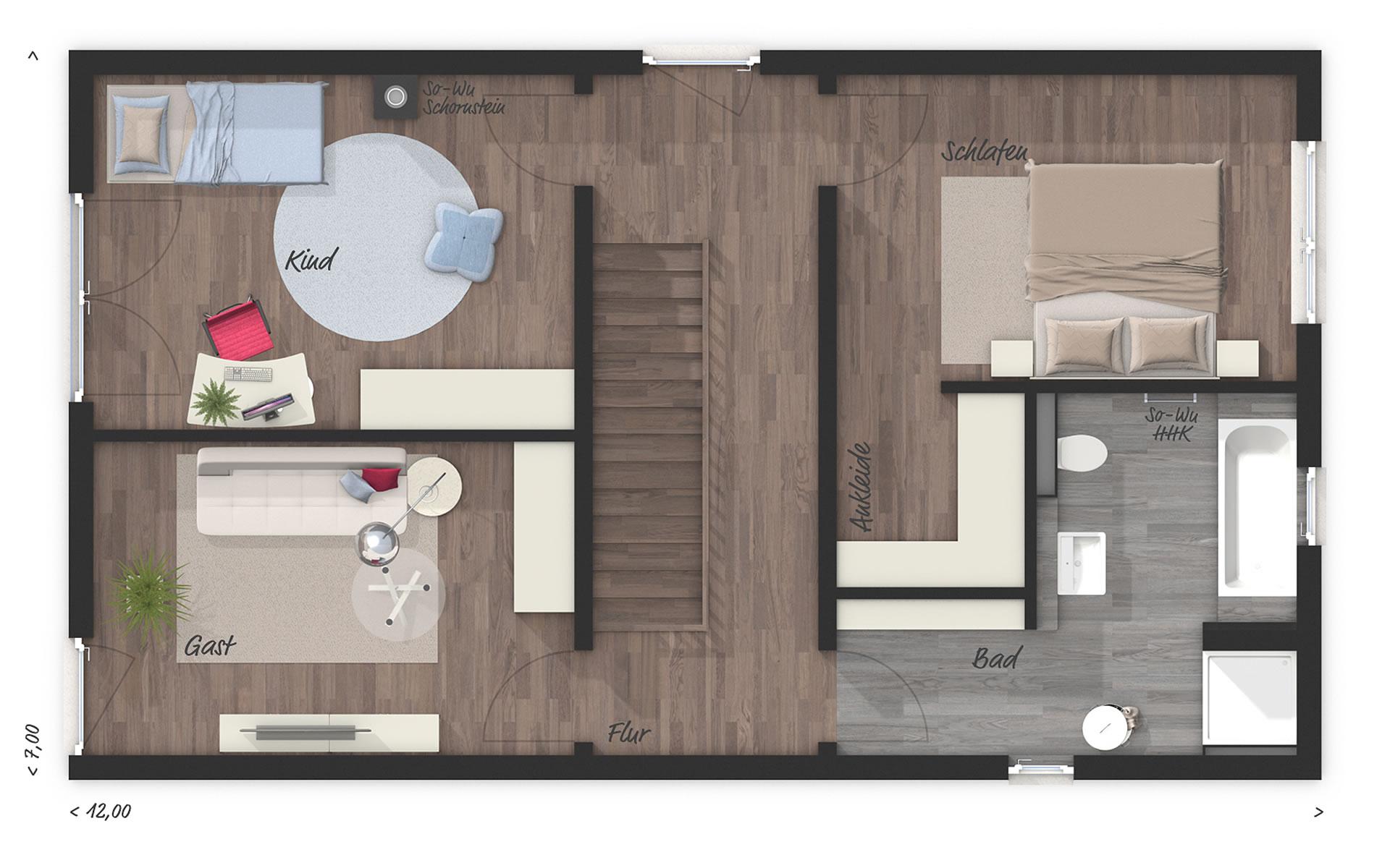 Obergeschoss Stadthaus Aura 136 von Town & Country Haus Lizenzgeber GmbH
