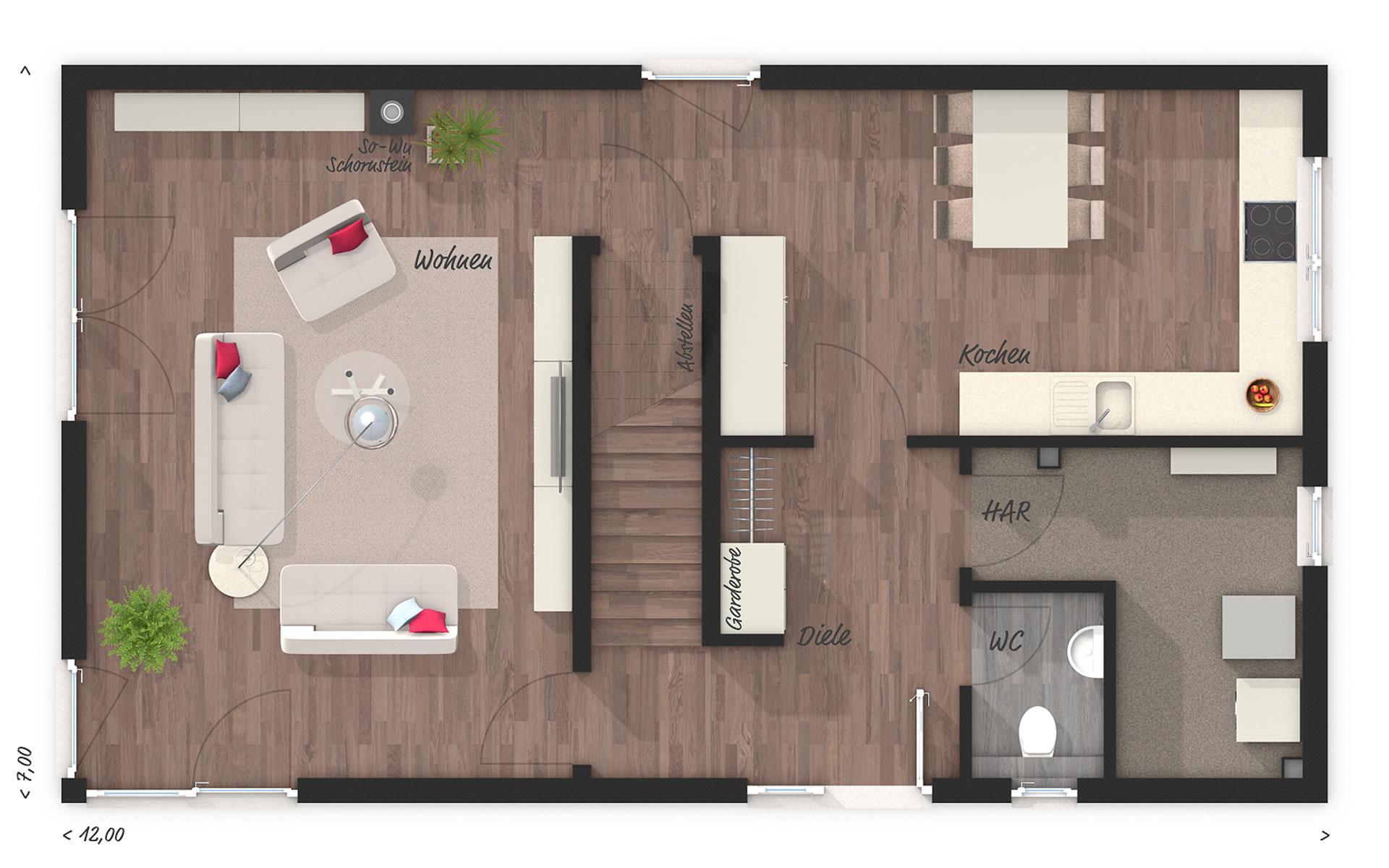 Erdgeschoss Stadthaus Aura 136 von Town & Country Haus Lizenzgeber GmbH