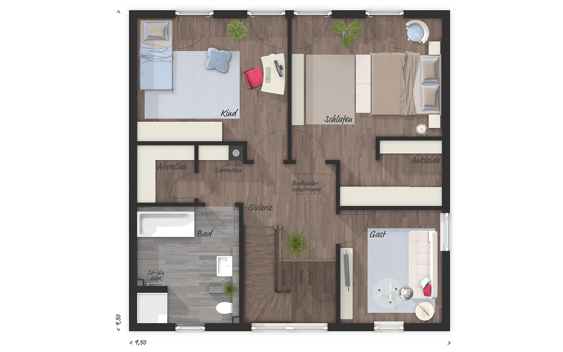 Obergeschoss Stadtvilla 145 von Town & Country Haus Lizenzgeber GmbH