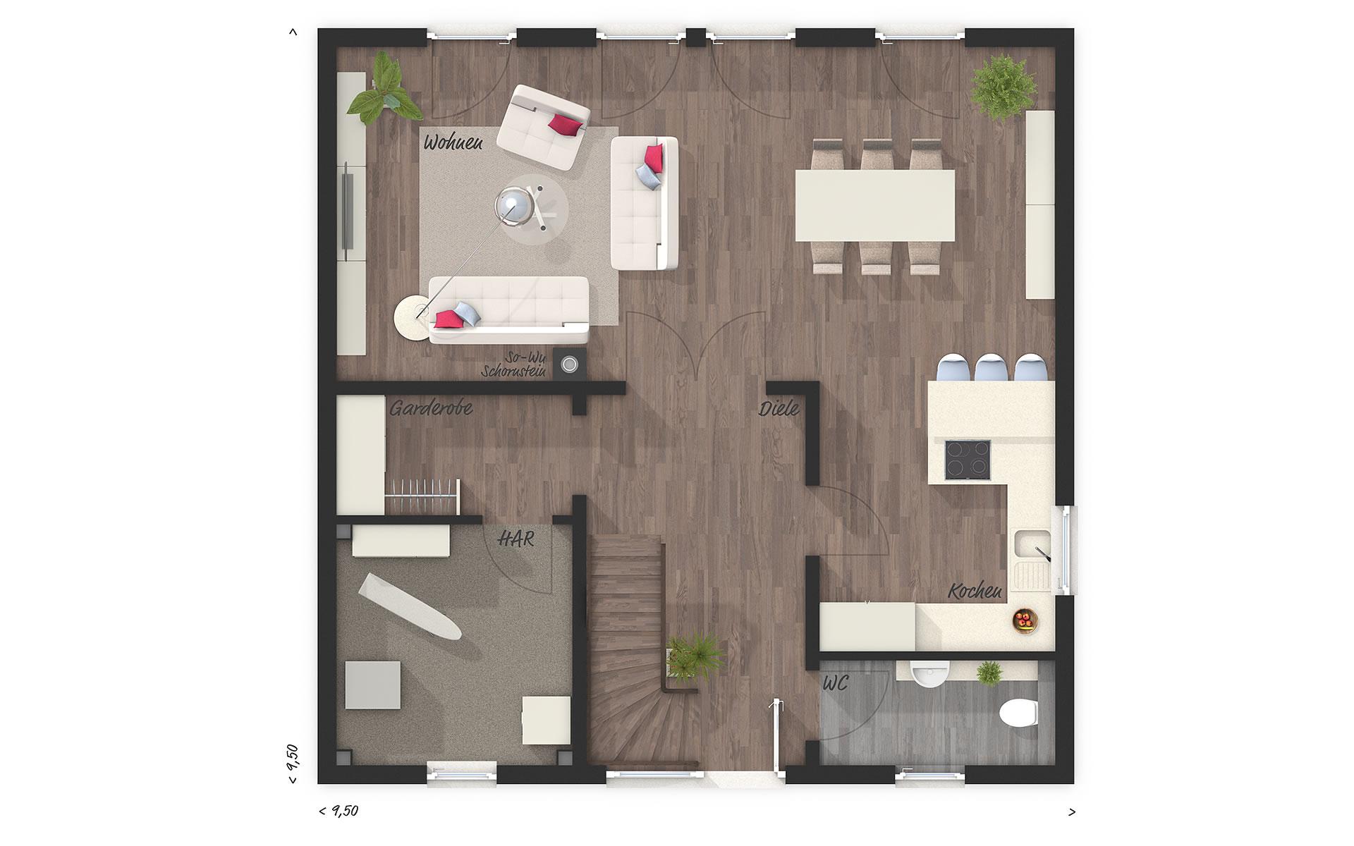 Erdgeschoss Stadtvilla 145 von Town & Country Haus Lizenzgeber GmbH