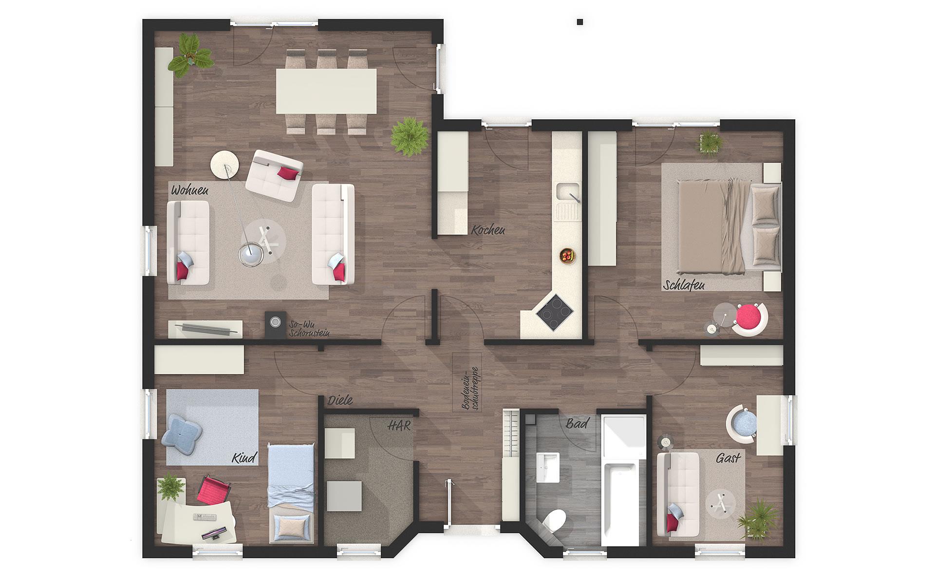 Erdgeschoss Winkelbungalow 108 von Town & Country Haus Lizenzgeber GmbH