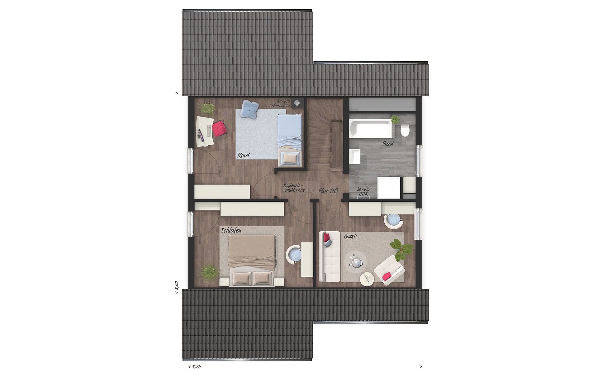 Dachgeschoss Wintergartenhaus 118 von Town & Country Haus Lizenzgeber GmbH