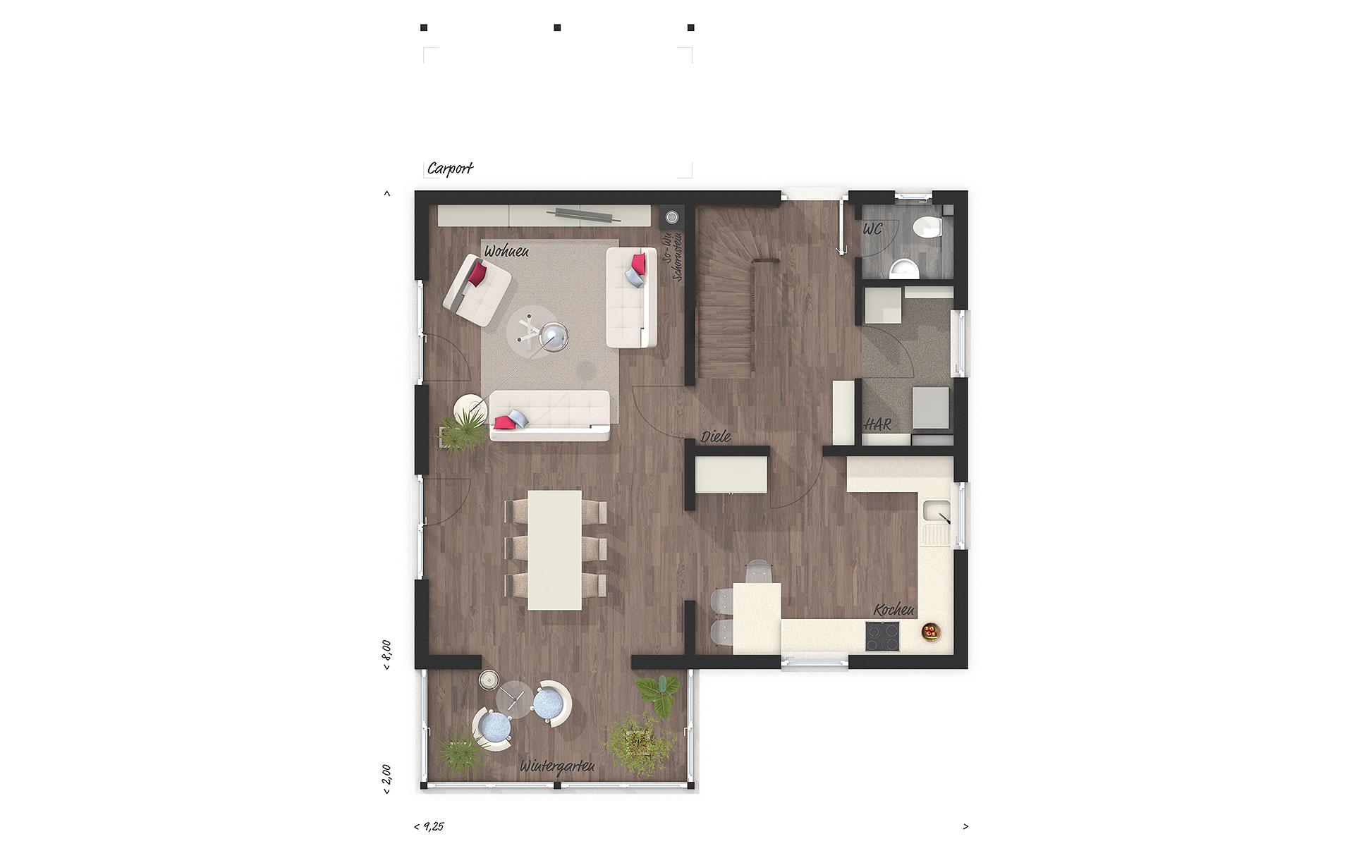 Erdgeschoss Wintergartenhaus 118 von Town & Country Haus Lizenzgeber GmbH