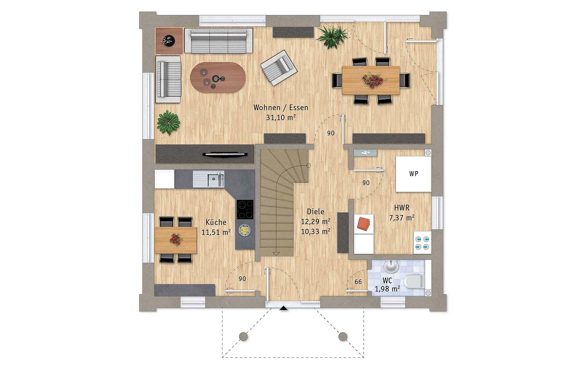 Erdgeschoss VarioCity 124 von VarioSelf Lizenzgesellschaft mbH