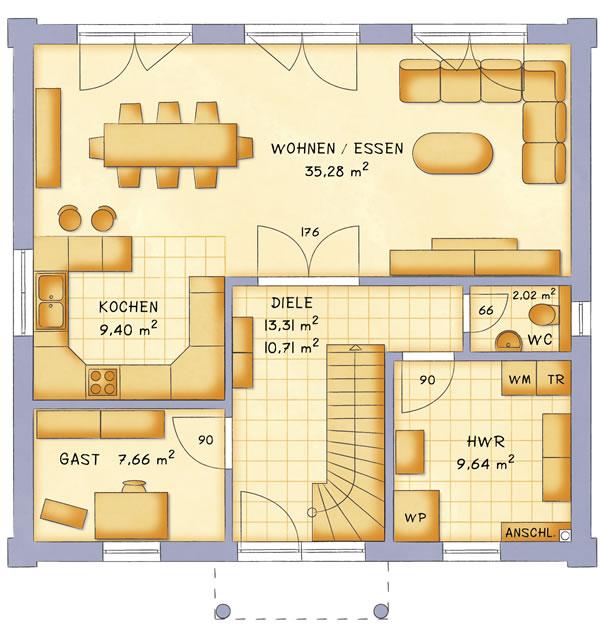 Erdgeschoss VarioCity 148 von VarioSelf Lizenzgesellschaft mbH