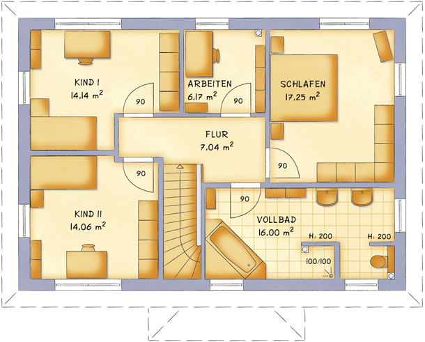 Obergeschoss VarioCity 153 von VarioSelf Lizenzgesellschaft mbH