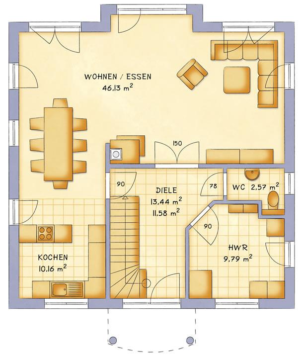 Erdgeschoss VarioCity 168 von VarioSelf Lizenzgesellschaft mbH