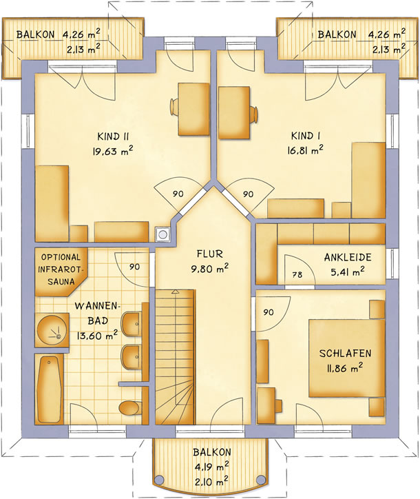 Obergeschoss VarioCity 168 von VarioSelf Lizenzgesellschaft mbH