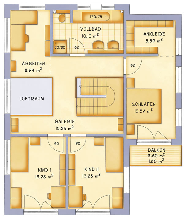 Obergeschoss VarioContour 166 von VarioSelf Lizenzgesellschaft mbH