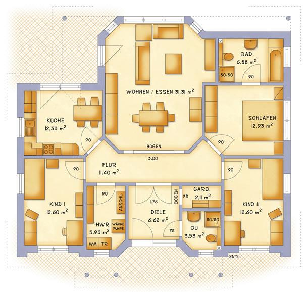 Erdgeschoss VarioCorner 118 von VarioSelf Lizenzgesellschaft mbH
