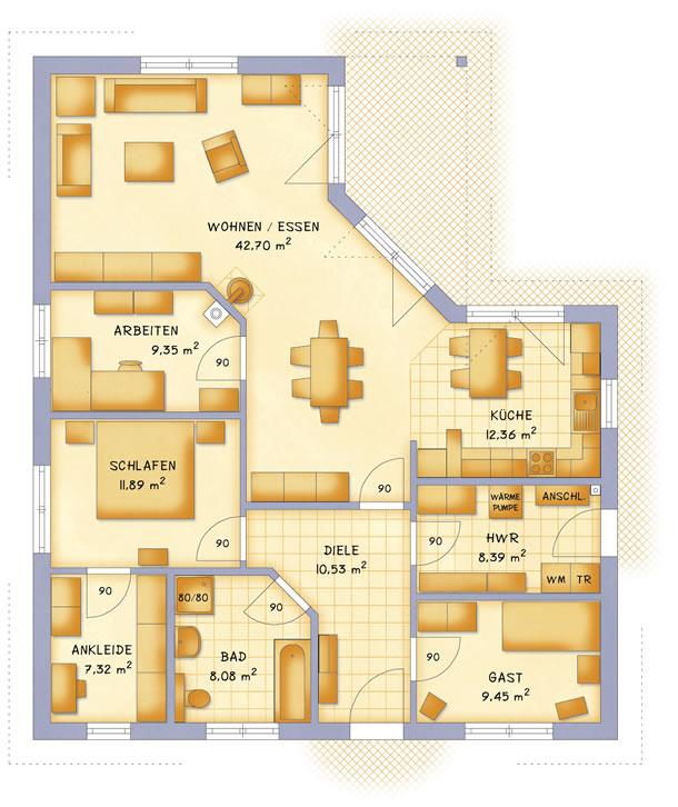 Erdgeschoss VarioCorner 120 von VarioSelf Lizenzgesellschaft mbH