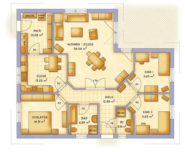 Erdgeschoss VarioCorner 121 von VarioSelf Lizenzgesellschaft mbH