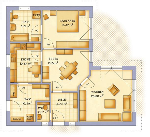 Erdgeschoss VarioCorner 91 von VarioSelf Lizenzgesellschaft mbH