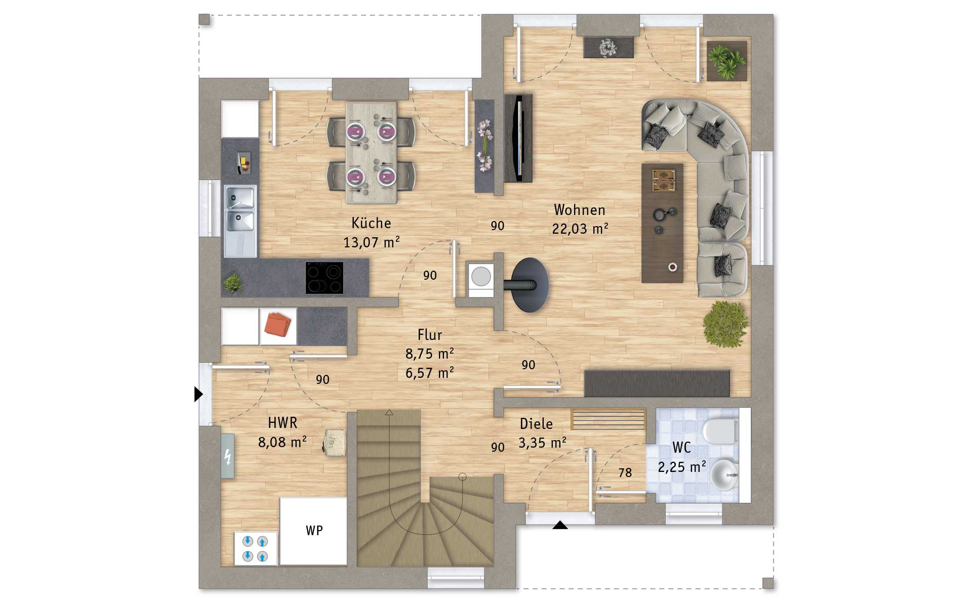 Erdgeschoss VarioFamily 108 von VarioSelf Lizenzgesellschaft mbH