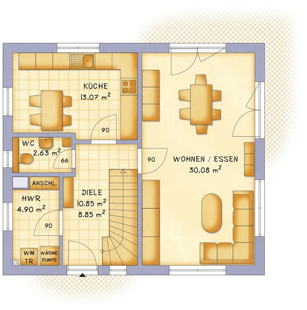Erdgeschoss VarioFamily 115 von VarioSelf Lizenzgesellschaft mbH