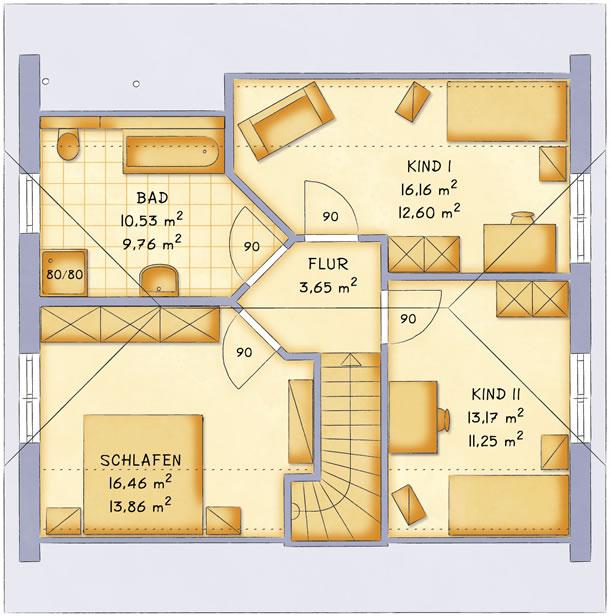 Dachgeschoss VarioFamily 127 von VarioSelf Lizenzgesellschaft mbH